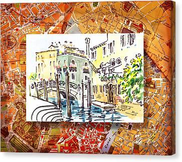 Italy Sketches Venice Canale Canvas Print by Irina Sztukowski