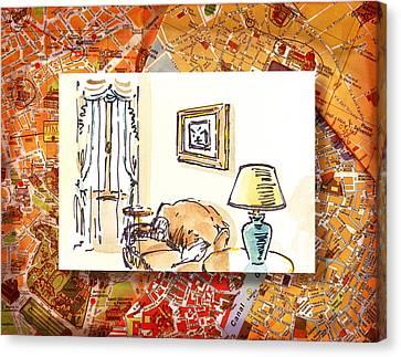 Italy Sketches Venice Hotel Canvas Print by Irina Sztukowski