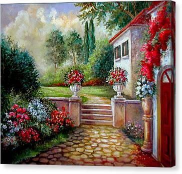Italyan Villa With Garden  Canvas Print by Regina Femrite