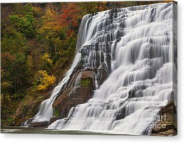 Ithaca Falls In Autumn Canvas Print by Michele Steffey