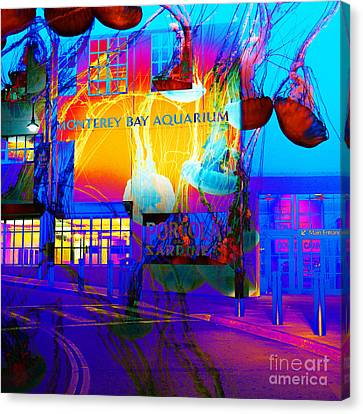 Its Raining Jelly Fish At The Monterey Bay Aquarium 5d25177 Square Canvas Print by Wingsdomain Art and Photography