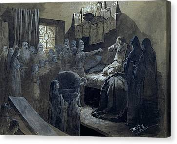Ivan The Terrible Visited By The Ghosts Of Those He Murdered Canvas Print by Baron Mikhail Petrovich Klodt von Jurgensburg