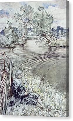Izaak Walton Reclining Against A Fence Canvas Print by Arthur Rackham