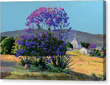 Jacaranda Holy Ghost Church In Kula Maui Hawaii Canvas Print by Don Jusko