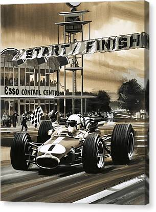Jack Brabham Wins The First Ever Canadian Grand Prix Canvas Print by Wilf Hardy