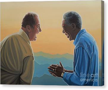 Jack Nicholson And Morgan Freeman Canvas Print by Paul Meijering