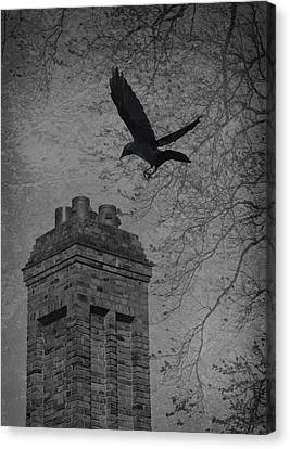 Jackdaw Flying To Chimney Canvas Print by Amanda And Christopher Elwell