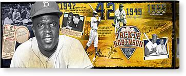 Jackie Robinson Panoramic Canvas Print by Retro Images Archive