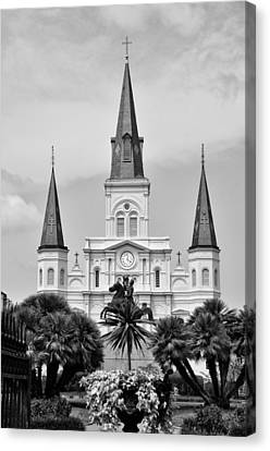 Jackson Square In Black And White Canvas Print by Bill Cannon
