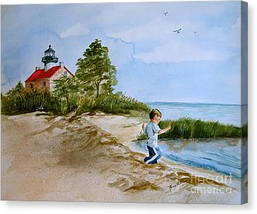 Jacob At East Point  Canvas Print by Nancy Patterson