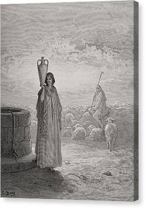 Jacob Keeping Laban's Flock Canvas Print by Gustave Dore