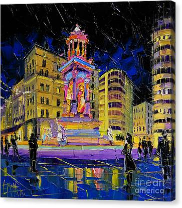 Jacobins Fountain During The Festival Of Lights In Lyon France  Canvas Print by Mona Edulesco