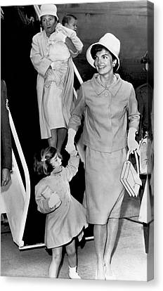 Jacqueline Kennedy With Child Canvas Print by Underwood Archives
