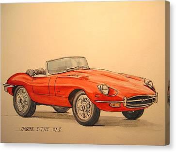 Jaguar E Type Canvas Print by Juan  Bosco