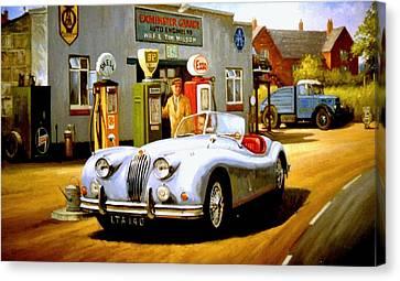 Jaguar Xk 140 Canvas Print by Mike  Jeffries