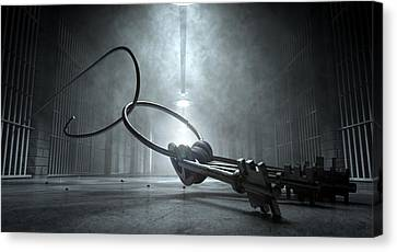 Jail Break Keys And Prison Cell Canvas Print by Allan Swart