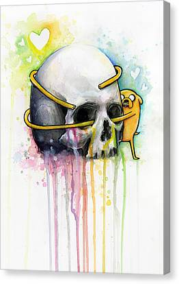 Jake The Dog Hugging Skull Adventure Time Art Canvas Print by Olga Shvartsur
