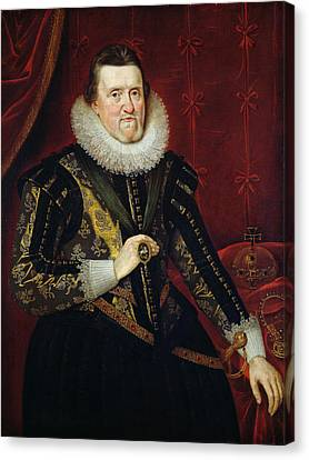 James Vi Of Scotland And I Of England And Ireland  1566-1625 Oil On Canvas Canvas Print by Adam de Colone