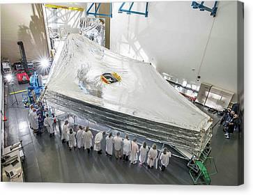 James Webb Space Telescope Sunshield Canvas Print by Nasa/chris Gunn