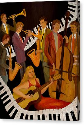 Jamin' With The Lady In Red Canvas Print by Larry Martin