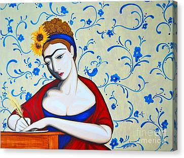 Jane A La Frida Canvas Print by Rebecca Mott