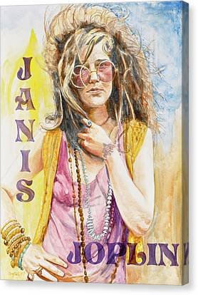 Janis Joplin Painted Poster Canvas Print by Kathryn Donatelli