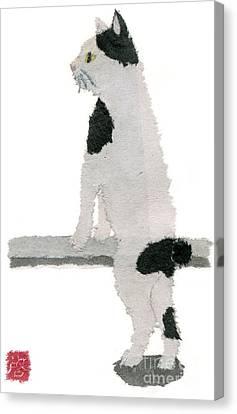 Japanese Bobtail Cat Hand-torn Newspaper Collage Art Pet Portrait Canvas Print by Keiko Suzuki