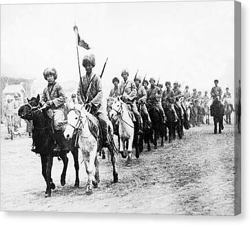 Japanese Calvary In Manchuria Canvas Print by Underwood Archives