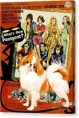 Japanese Chin Art Canvas Print - Whats New Pussycat Movie Poster Canvas Print by Sandra Sij