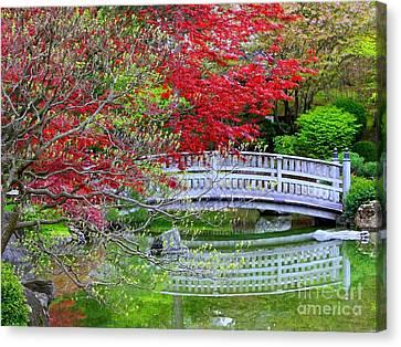 Japanese Garden Bridge In Springtime Canvas Print by Carol Groenen