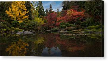 Japanese Garden Reflection Canvas Print by Mike Reid