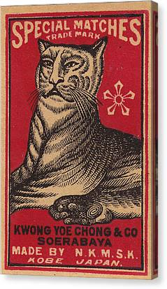 Japanese Matchbox Label With Tiger Canvas Print by Nop Briex