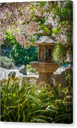 Japanese Shrine In The Garden Canvas Print by Sarit Sotangkur