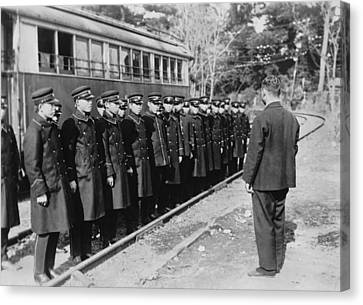 Japanese Street Car Conductors Canvas Print by Underwood Archives