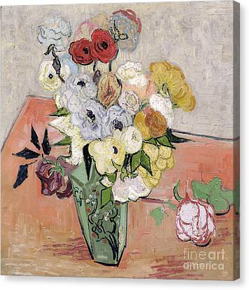 Japanese Vase With Roses And Anemones Canvas Print by Vincent van Gogh