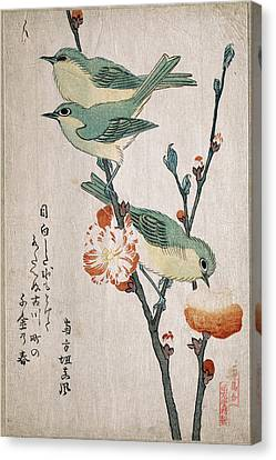 Japanese White-eyes Perching On A Branch Of Peach Tree Canvas Print by Kubo Shunman