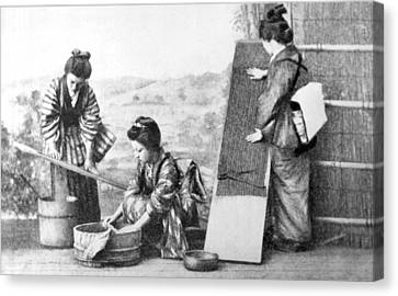 Japanese Women Doing Laundry Canvas Print by Underwood Archives