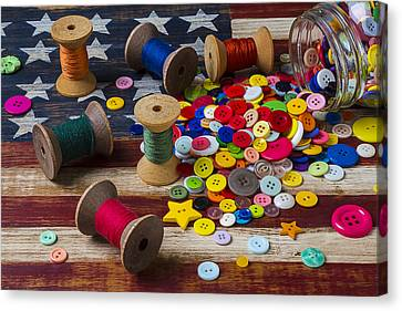 Jar Of Buttons And Spools Of Thread Canvas Print by Garry Gay