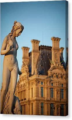 Jardin Des Tuileries Female Statue Canvas Print by Brian Jannsen