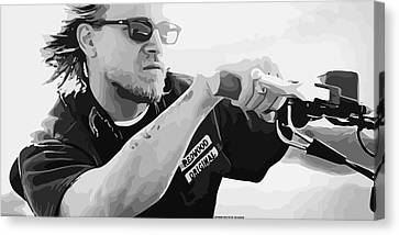 Jax Teller Final Ride Vector By Gbs Canvas Print by Anibal Diaz