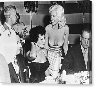Jayne Mansfield, Sophia Loren Canvas Print by Underwood Archives