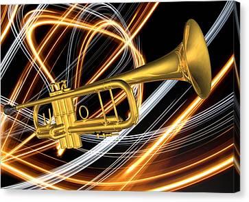 Jazz Art Trumpet Canvas Print by Louis Ferreira
