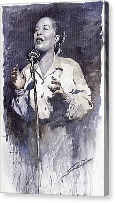 Jazz Billie Holiday Lady Sings The Blues Canvas Print by Yuriy  Shevchuk