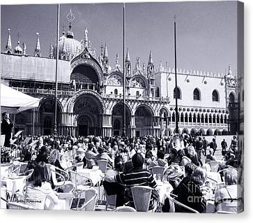 Jazz In Piazza San Marco Black And White  Canvas Print by Ramona Matei