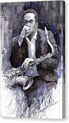 Jazz Saxophonist John Coltrane Black Canvas Print by Yuriy  Shevchuk