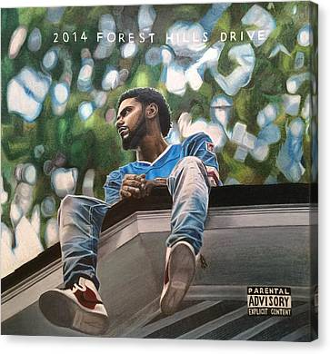 J.cole - 2014 Forest Hills Drive Drawing Canvas Print by Angelee Borrero