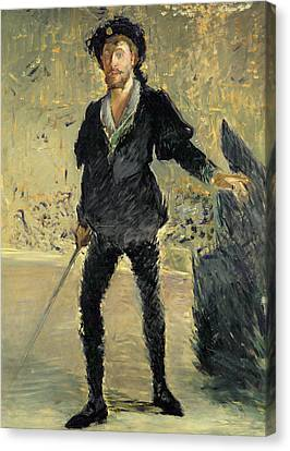 Jean Baptiste Faure In The Opera Hamlet By Ambroise Thomas Canvas Print by Edouard Manet