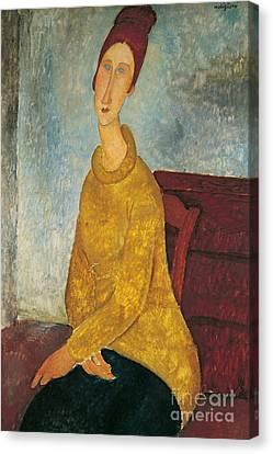 Jeanne Hebuterne In Yellow Sweater Canvas Print by Amedeo Modigliani