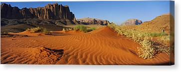 Jebel Qatar From The Valley Floor, Wadi Canvas Print by Panoramic Images