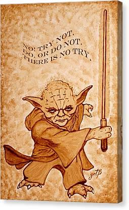 Jedi Yoda Wisdom Canvas Print by Georgeta  Blanaru